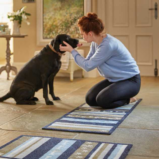 Howler & Scratch Dog Stripe Mats 2 in grey, blue and beige